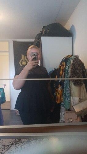Plus Size Black Striped Mesh Yoke Peplum Top Blouse Women Summer Stand Collar Slim Fit Ruffle Hem Sheer Blouses Shirt photo review