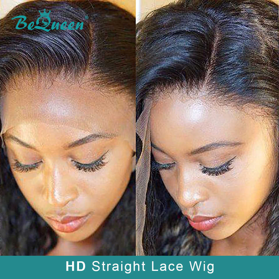 BeQueen HD Invisible Straight Lace front Human Hair Wigs With Pre-Pluck Hair Malaysia Human Hair Wigs Lace Front Human Hair Wig