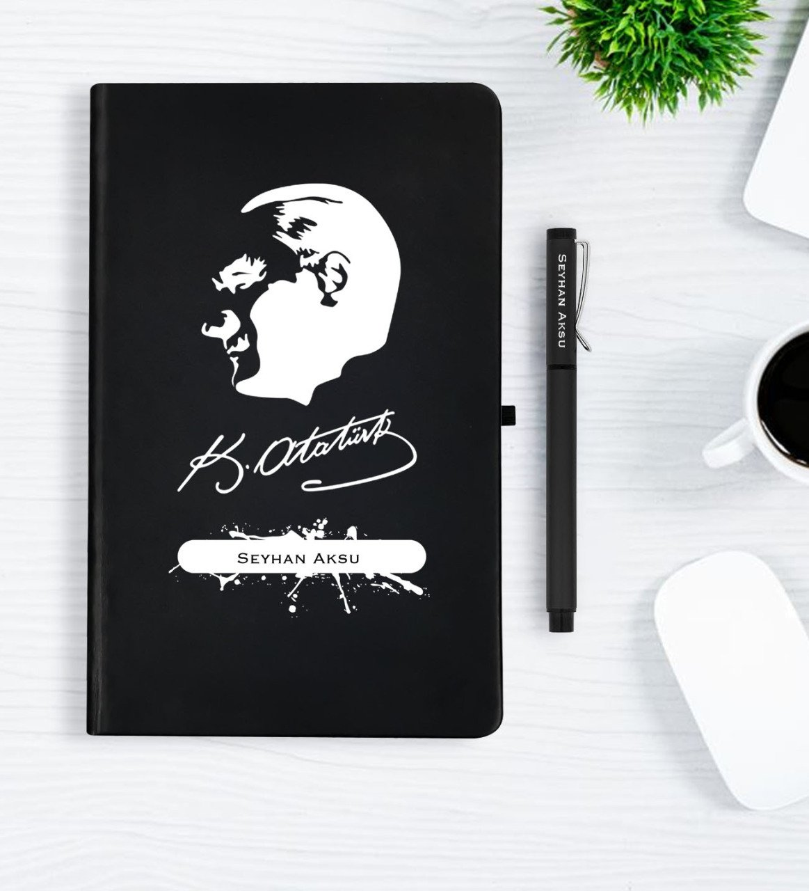 Personalized Ataturk Themed Black Notebook Pen Gift Set-4