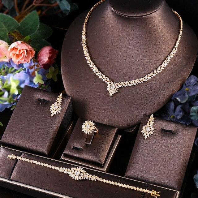 janekelly 4pcs Bridal Zirconia Full Jewelry Sets For Women