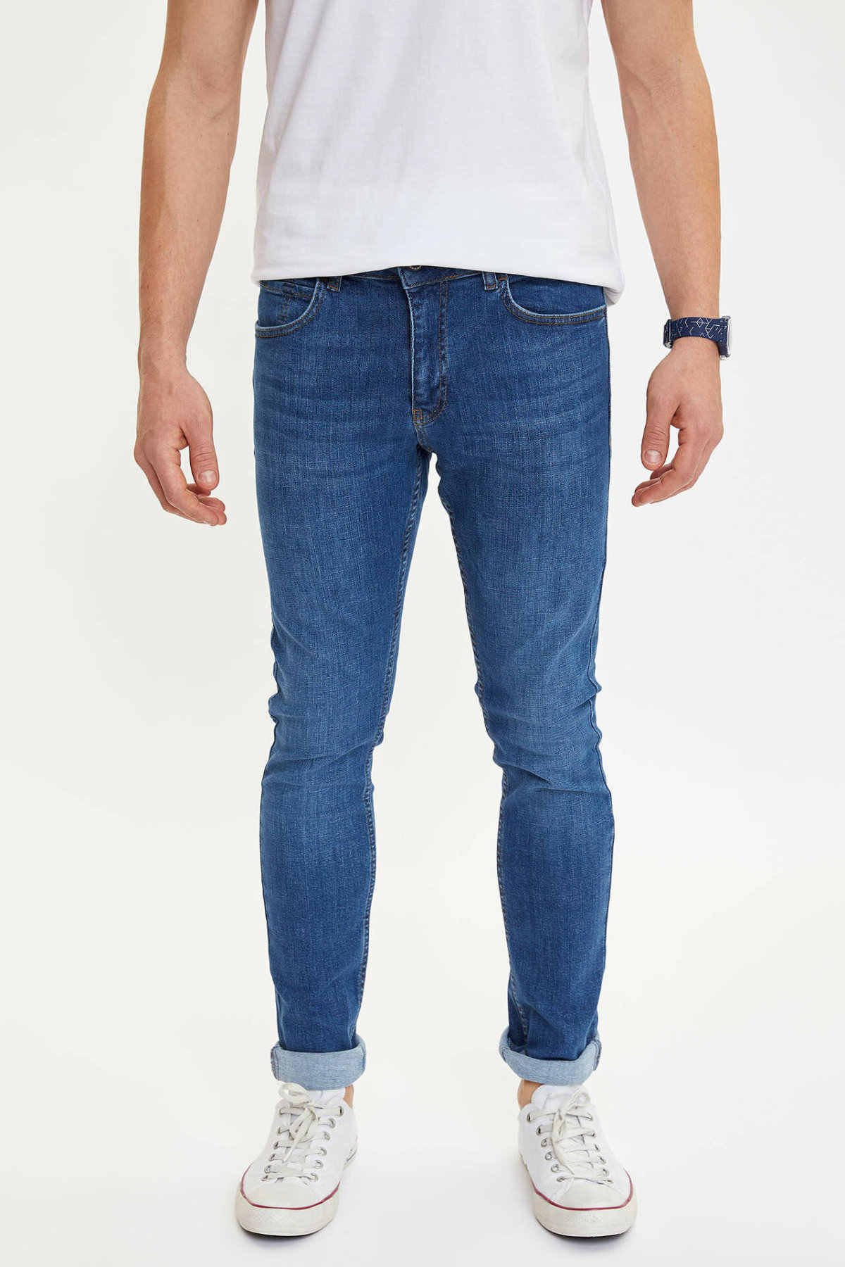 DeFacto męskie dżinsy wiosenne męska niebieska w stylu Casual Denim dna męskie dopasowane dopasowane dżinsy męskie Trousers-M7290AZ20SP