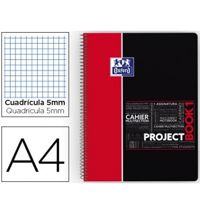 NOTEPAD SPIRAL OXFORD PLASTIC CAP MICROPERFORATED PROJECTBOOK1 DIN A4 80 SHEETS 90 PICTURES 5 MM RED APP