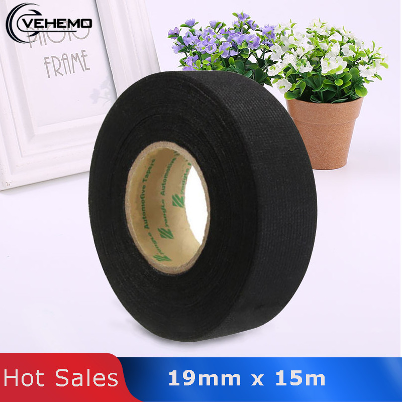 Vehemo 15m Car Vehicle Harness Noise Sound Insulation Adhesive Felt Fleece Wire Loom Electric Heat Black High Temperature Tape image