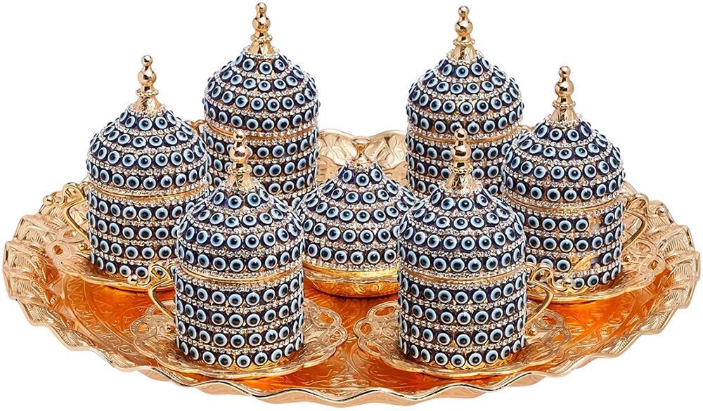 Ensemble expresso de café arabe grec turc fait à la main pour 6 services, tasses soucoupes couvercles plateau délice cadeau de plat de bonbons