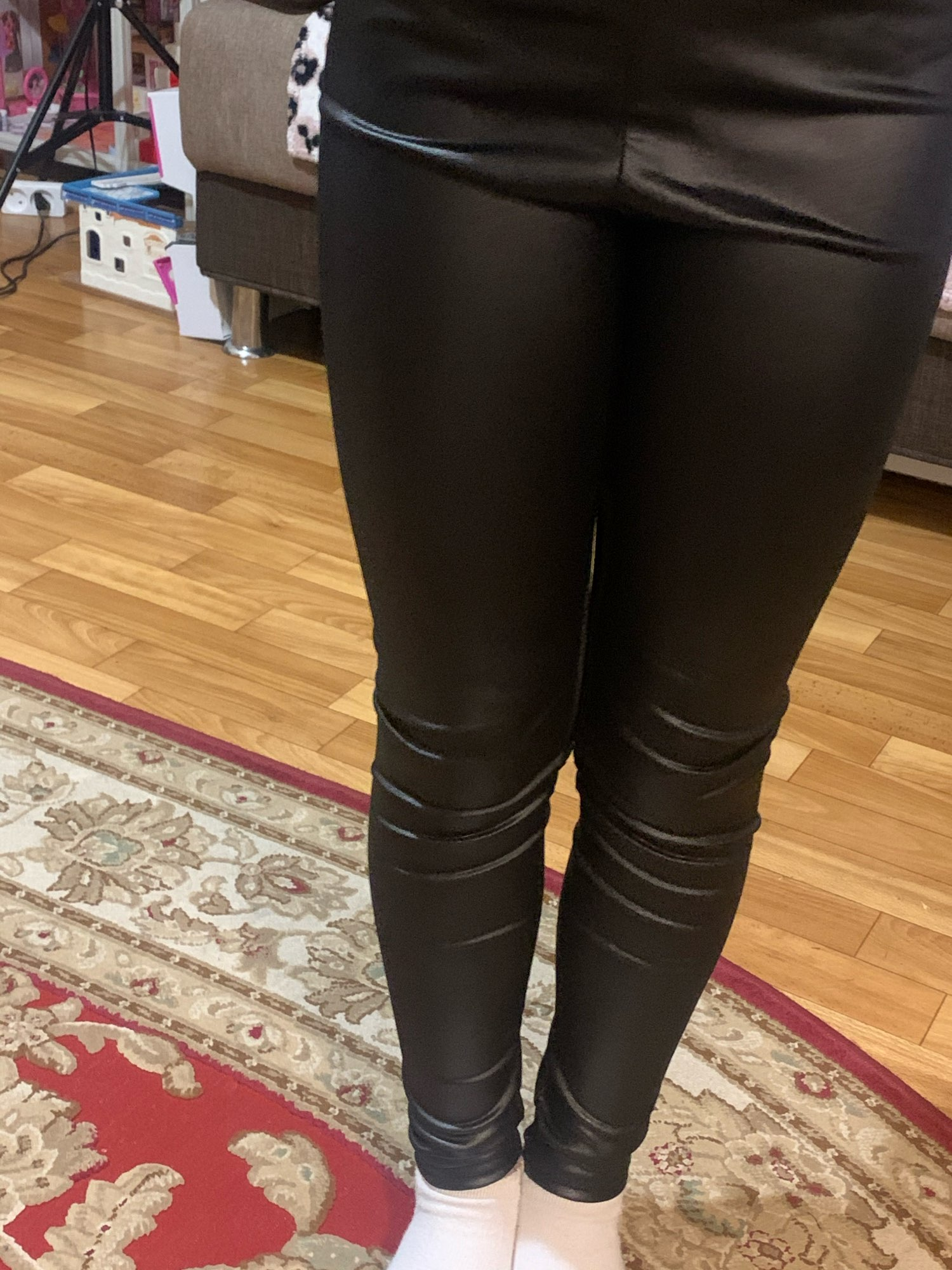Children's pants leggings Autumn new thin models girls Pu leather popular imitation leather pants Elastic Solid Kids Trousers photo review