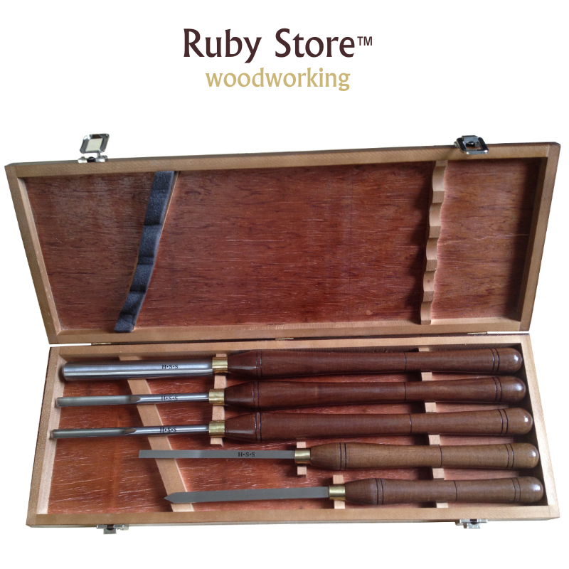 A1003 5PCS Woodturning Tools SET H.S.S Blade & American Walnut Handle in Wooden Box|Turning Tool|Tools - title=