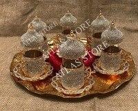 6 pessoas chá conjunto cristais e grânulos prata n cor do ouro com bandeja grande