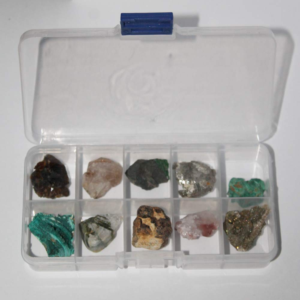 Минералы коллекция 10 позиций малахит кварц халькопирит эпидот уваровит мусковит гранат кальцит целестин тагилит астрофиллит