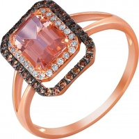 Jay VI ring with morganite and diamonds in red gold