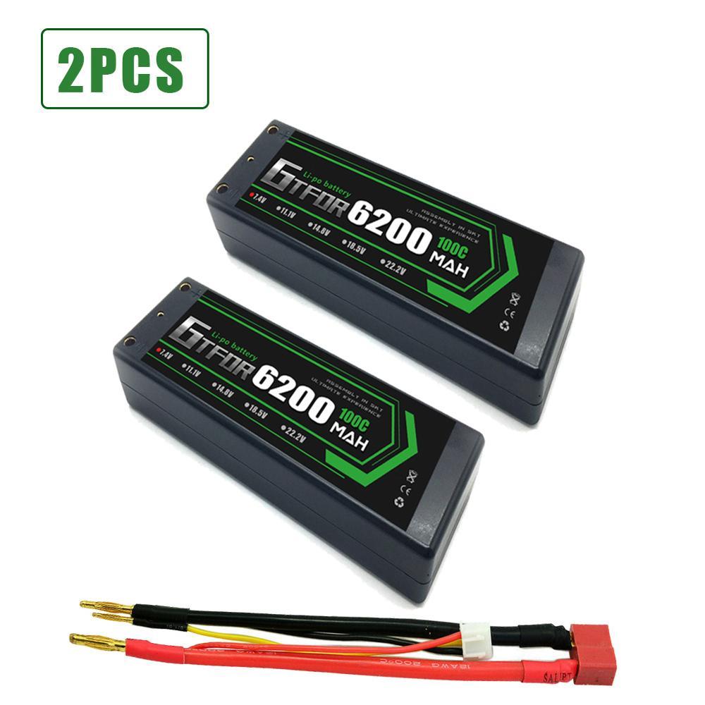 gtfdr 2 pcs 2s lipo bateria 7 4 v 100c 6200 mah caso duro lipo baterias