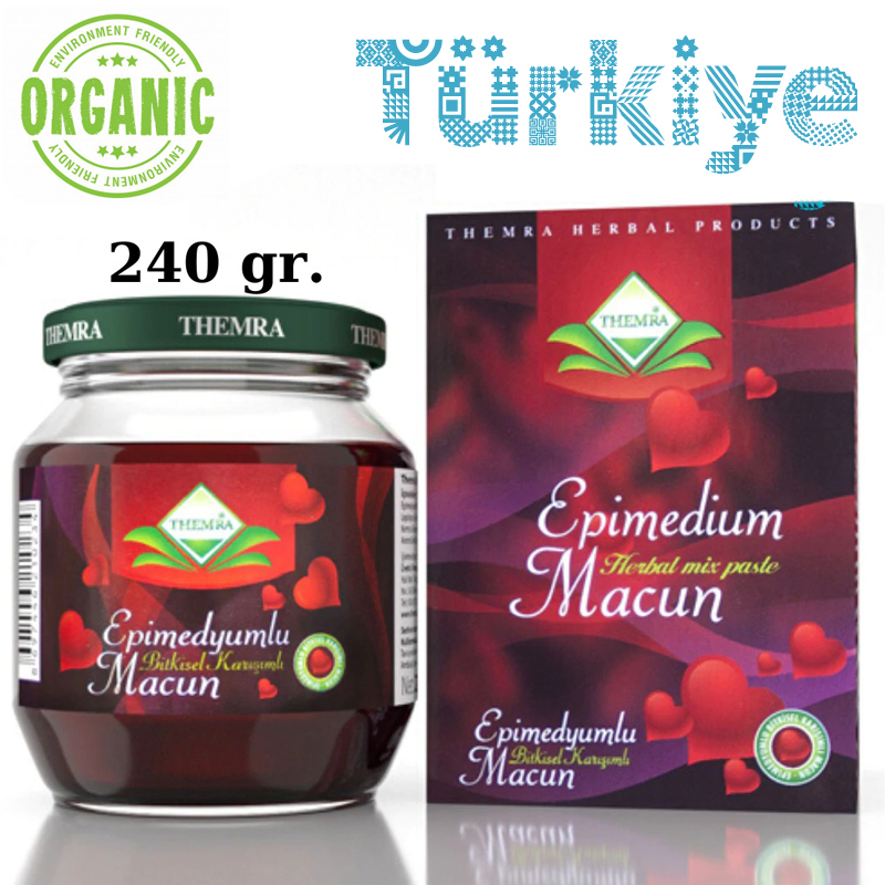 240 GR Organic Epimedium Themra Turkish Honey Mix Macun Horny Goat Weed Ginseng Herbal Aphrodisiac Turkish Paste Halal Afrodisiak Themra Organics Viagra Performance Men Power-Hot Nights For Womens