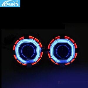 RONAN Биксеноновые линзы для прожектора, двойная фара CCFL, квадратные ангельские глазки для H4 H7, автомобильный Стайлинг