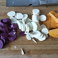 山药火龙果雪花球,紫薯雪花球的做法图解2