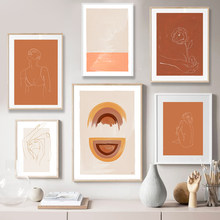 Abstract Burnt Orange Wall Art Canvas Painting Terracotta Rainbow Minimalist One Line Drawing Posters Boho Prints Home Decor(China)