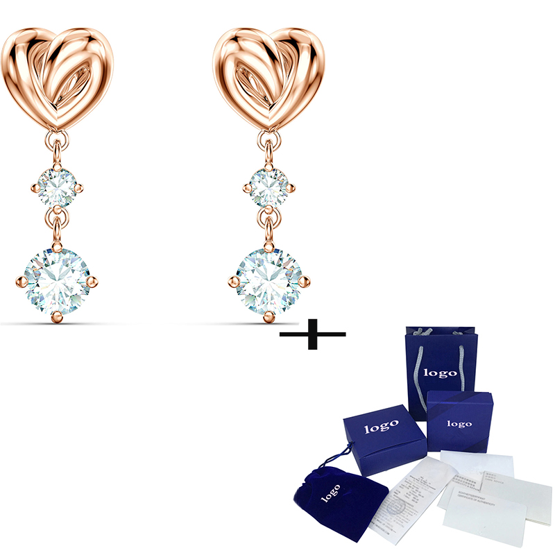 2020 High Quality Fashion Elegant LIFELONG HEART Pierced Earrings, For Girlfriend Exquisite Birthday Valentine's Day Gift