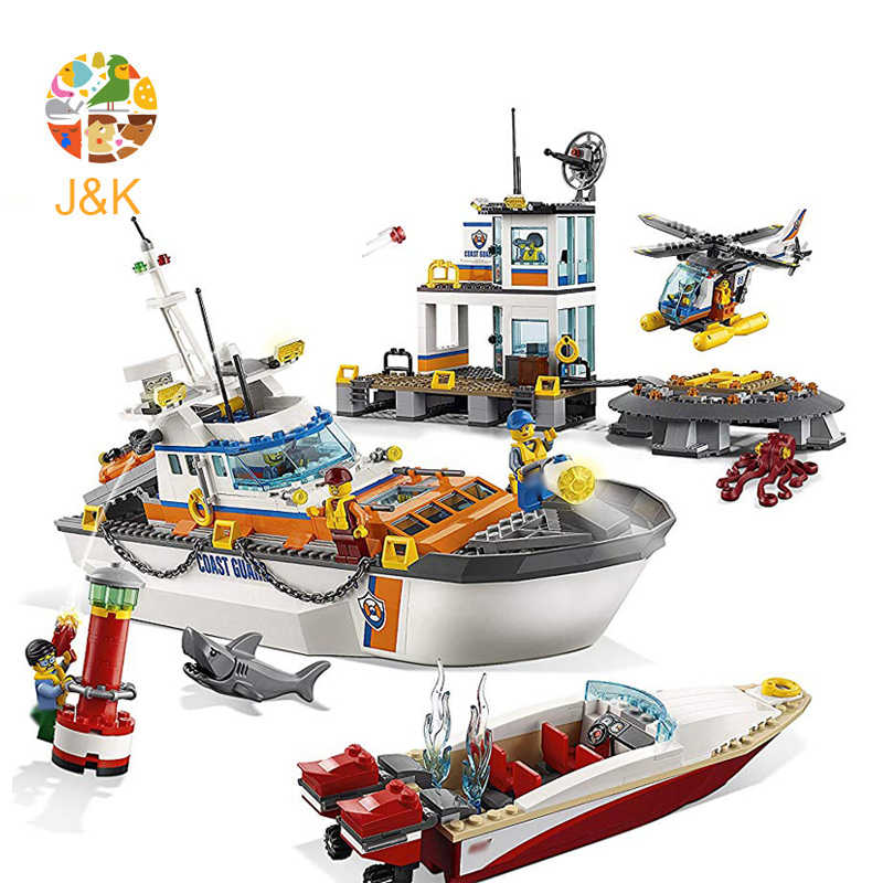 60167 854pcs CITY Series Coast Guard Head Quarters Ship Helicopter Boat Building Blocks Toys For Children 02081