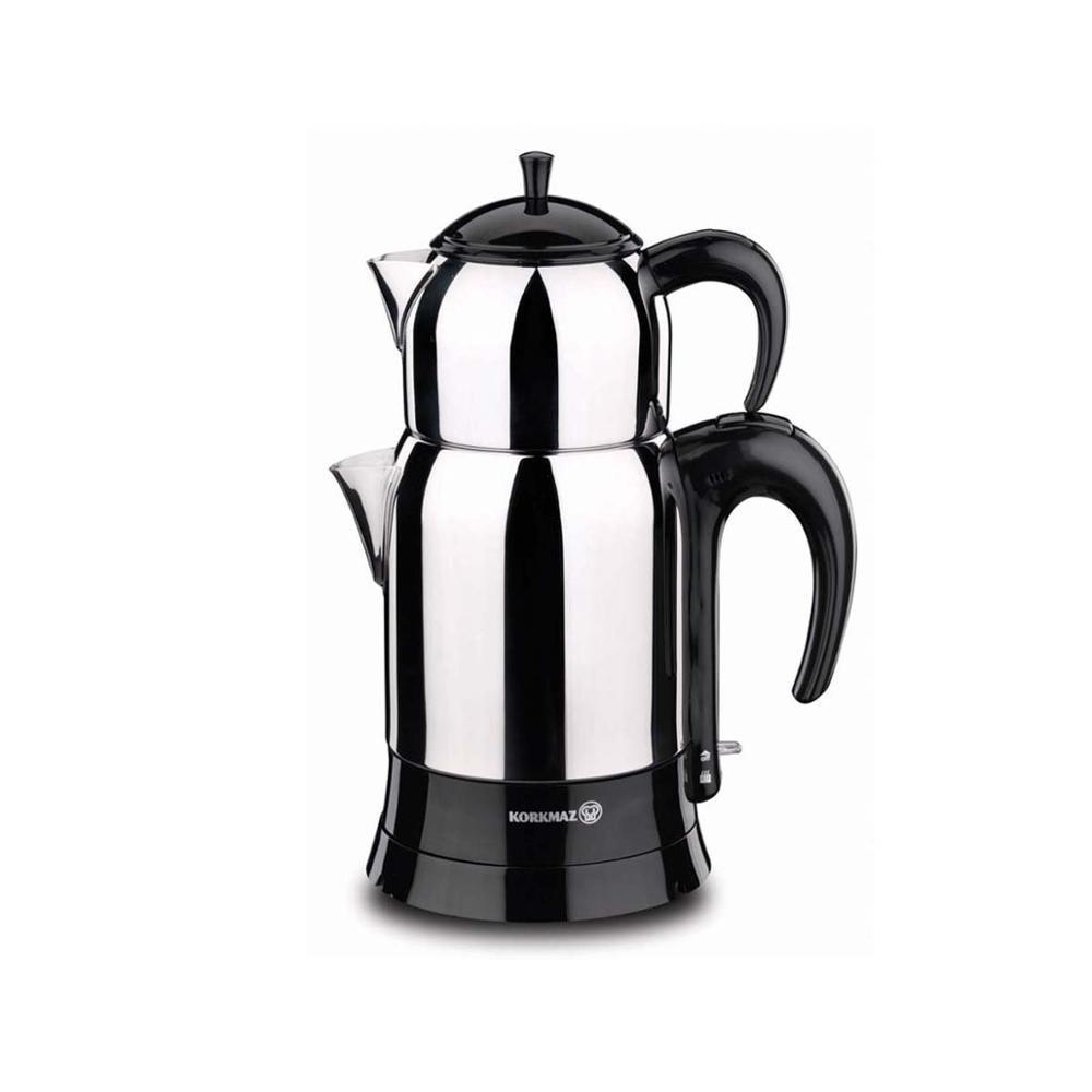 Korkmaz A356 1600W Steel Tea Machine Turkish Electric Teapot, Tea Kettle Machine Maker, Samovari Turkish Tea Maker, Tea Urn