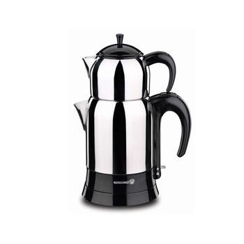 Korkmaz A356 1600W Steel Tea Machine Turkish Electric Teapot, Tea Kettle Machine Maker, Samovari Turkish Tea Maker, Tea Urn fully automatic tea making black steam electric kettle glass machine
