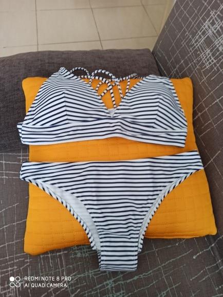 Push Up Bikinis Set 2020 Padded Women Swimsuit Striped Bathing Suit Monokini Mujer Banador feminino Sport Female Bikini Bandeau|Bikini Set|   - AliExpress