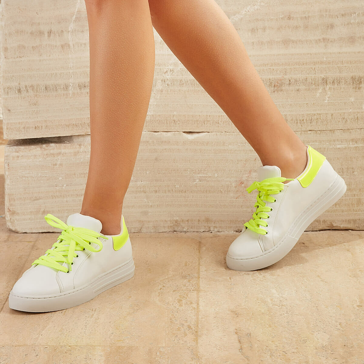 FLO Women Sneaker Shoes HOT Sneakers 2020 Fashion Breathble Vulcanized Shoes Women Platform Shoes Lace Up Casual Shoes Yellow White BUTIGO MILEN99Z SKIN