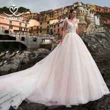 Vestido de novia de tul romántico Swanskirt bohemio con cuentas apliques A Line corte de tren princesa Vestido de novia UZ34