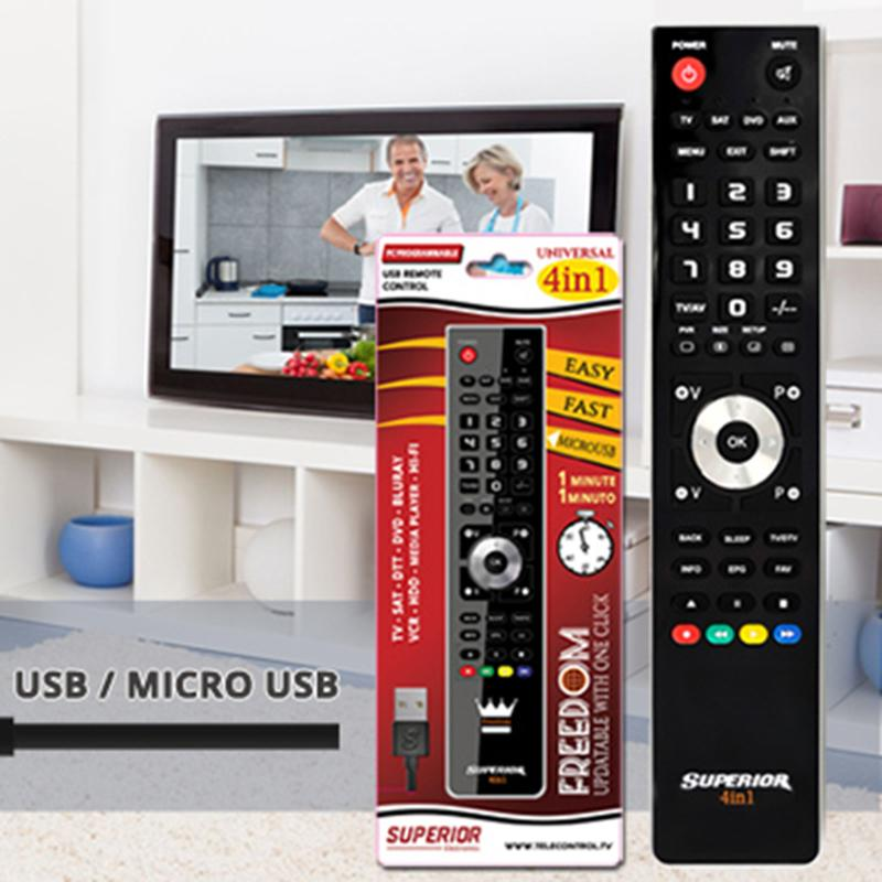 Tv Control Programmable 4in1 Usb Black Top Freedom-usb-4: 1