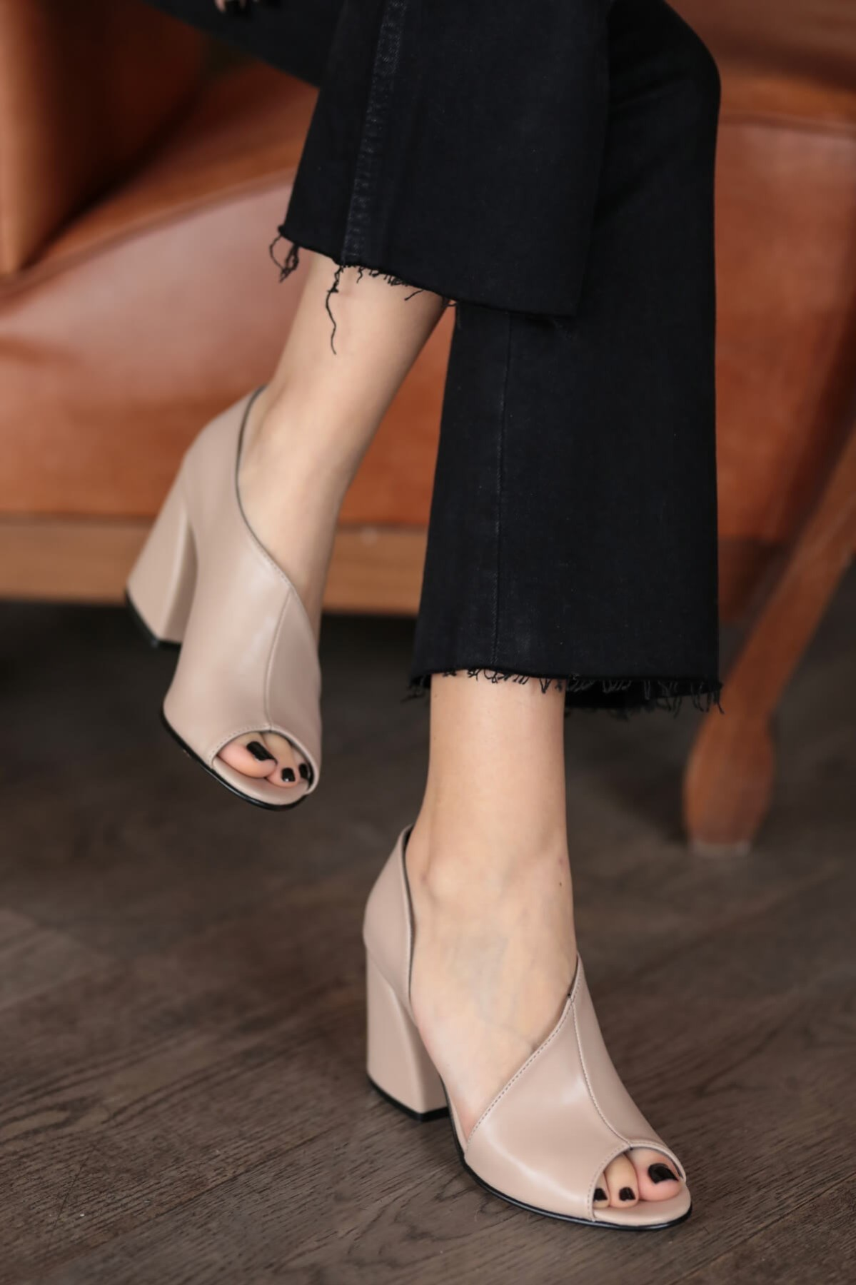 Eva Tan Black Colour Heels Shoes High Heel Shoes Office Lady Wedding Casual Square Heel Classic 2020 New Fashion