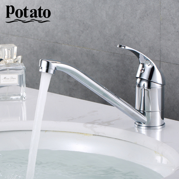 Potato Kitchen Faucet Classic Pull Out Modern Polished Chrome Plated Single Handle Swivel Spout Vessel Sink Mixer Tap p4204p4504