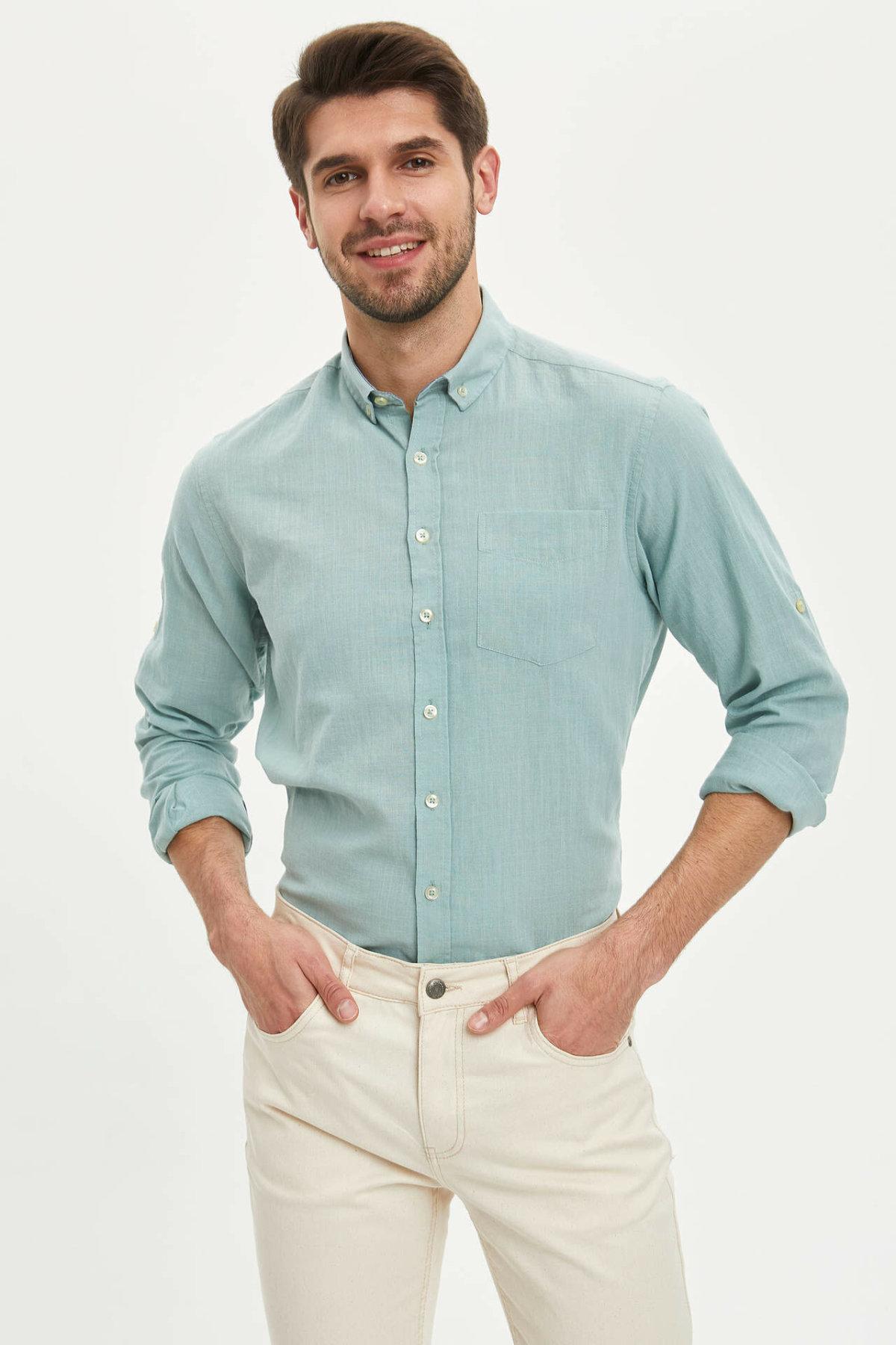 DeFacto Man Long Sleeve Shirt Men's Smart Casual Shirts Men's Basic Color Shirts Men's Spring White Shirts-M7180AZ20SP