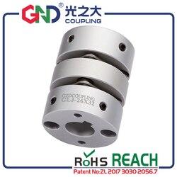 Elastyczny wałek sprzęgła GND aluminiowy podwójny zacisk membranowy do silnika krokowego serwomotoru CNC podłącz kaplin CNC