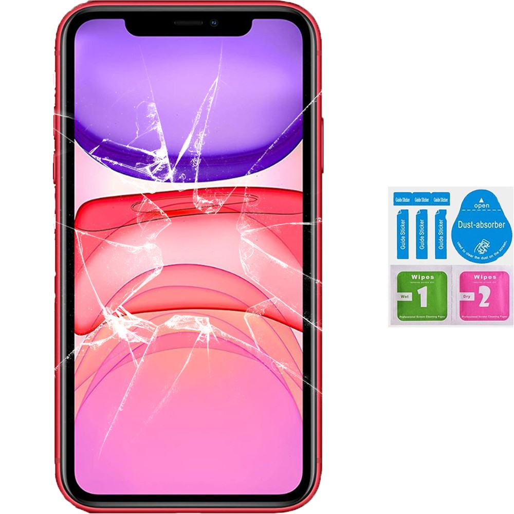 Protector Screen Tempered Glass For For APPLE IPHONE 11 (Generico, Not Full SEE INFO) CLEANING KIT
