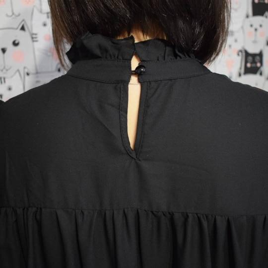 Hot 2019 autumn new fashion women's temperament commuter puff sleeve small high collar natural A word knee Chiffon dress reviews №4 342814