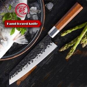 Image 4 - NEW 2019 GRANDSHARP Handmade Chef Knife Japanese Kiritsuke  Stainless Steel Slicing Kitchen Cooking Tools Wood Handle Gift Box