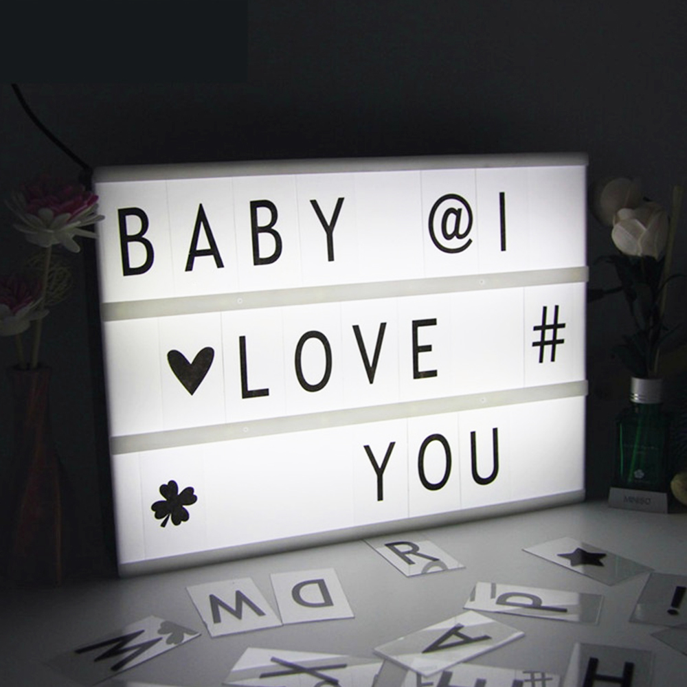 90pcs DIY LED Lamp Night Light Box With Card Modern Table Desk Cinematic Lamp A4 Letters Number Battery USB Party Wedding Decor