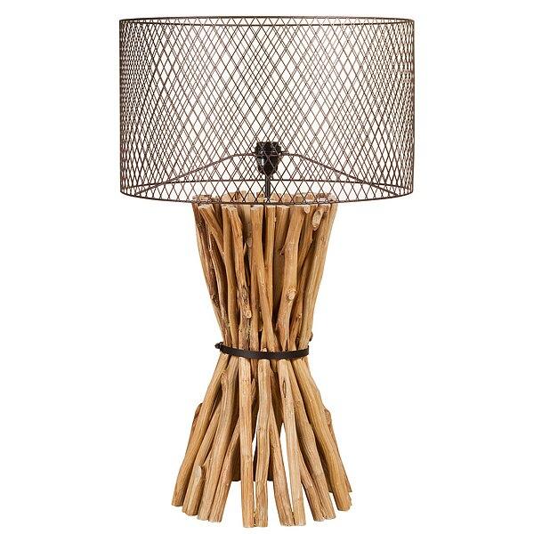 Işıklar ve Aydınlatma'ten Kolye ışıkları'de Masa lambası ahşap (48X48x88 cm) title=