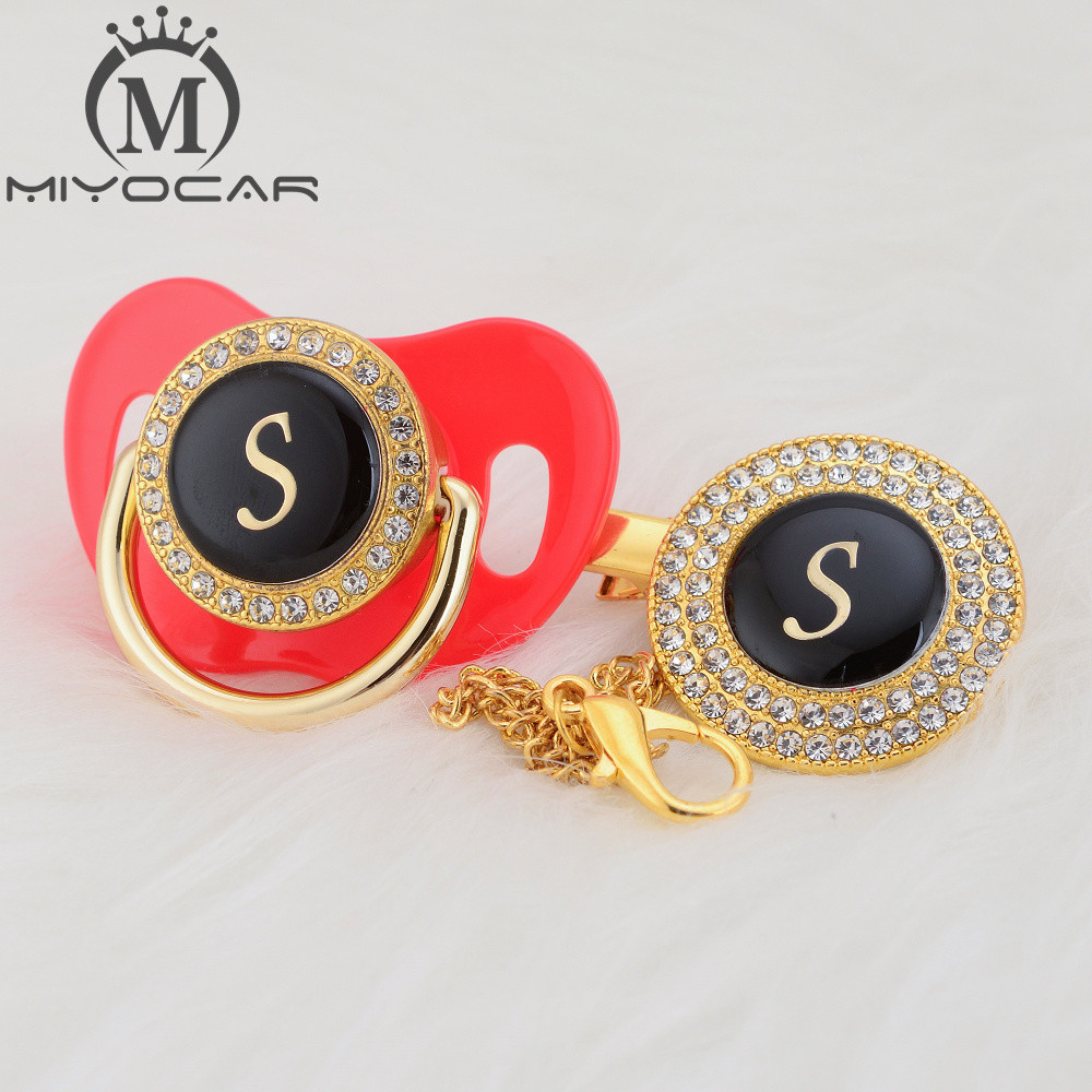 MIYOCAR Name Initial Letter S Elegant Silver Bling Pacifier And Pacifier Clip BPA Free Dummy Bling Unique Design SGS Pass LS