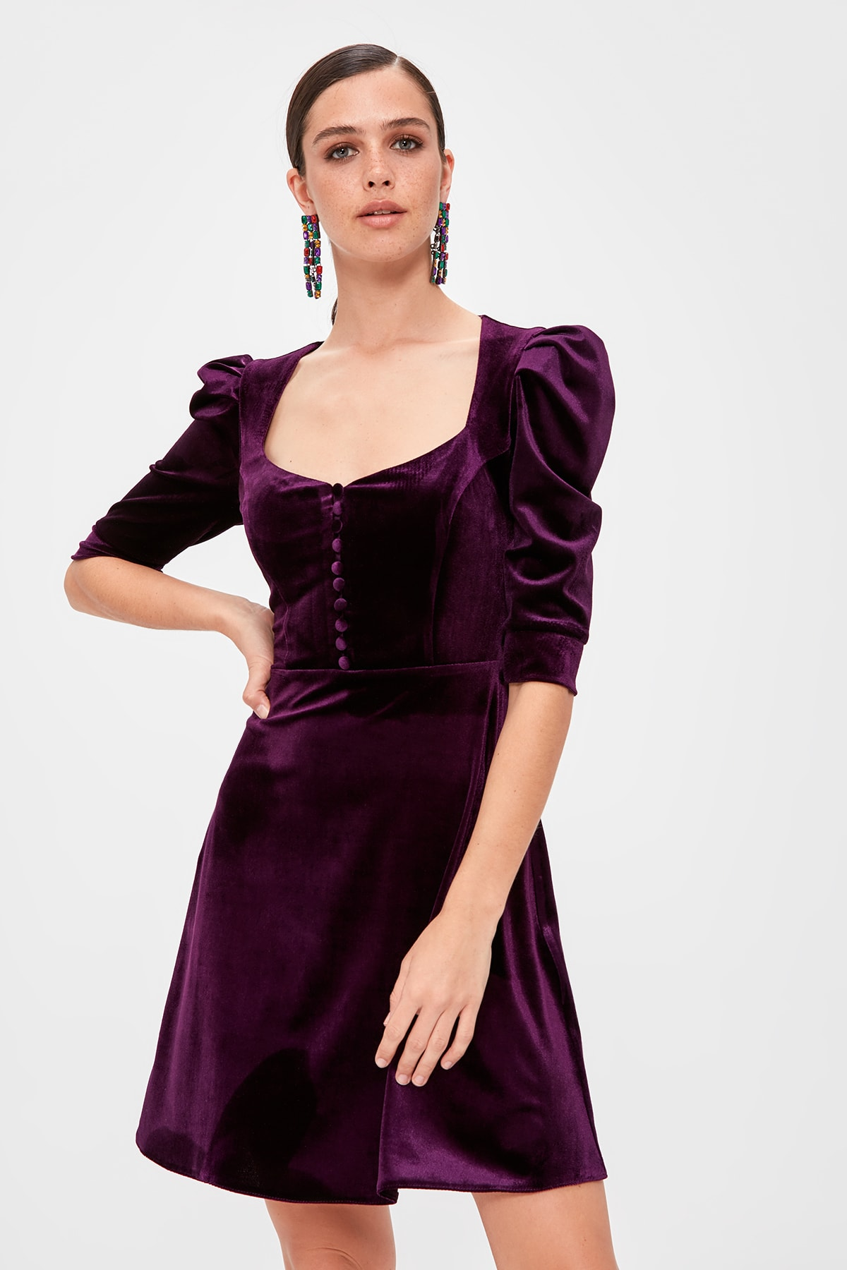 Trendyol Velvet Dress TPRAW20EL1399
