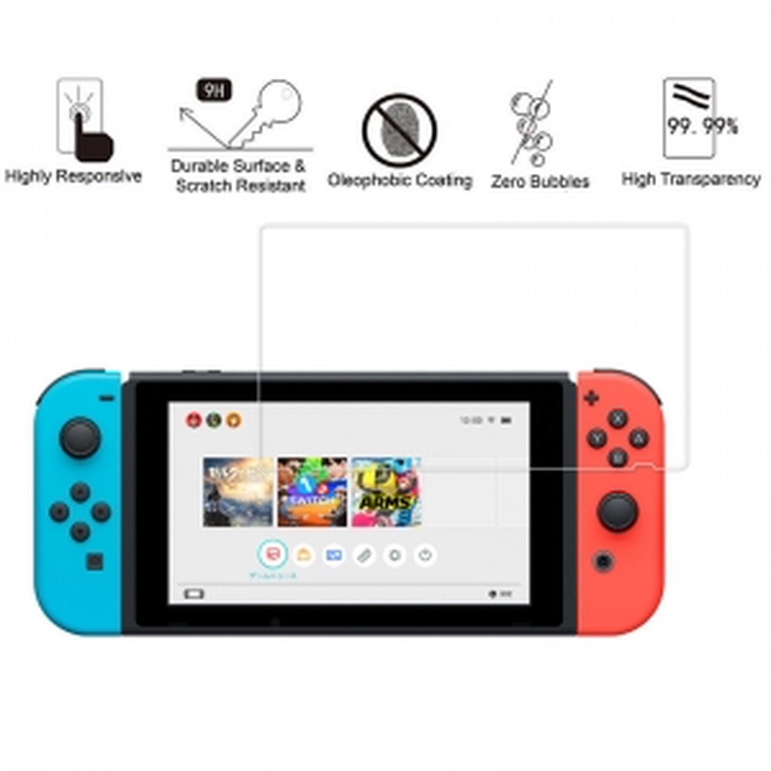 Nintendo Switch Protective Tempered Glass Screen Maxima Protection For Your Switch
