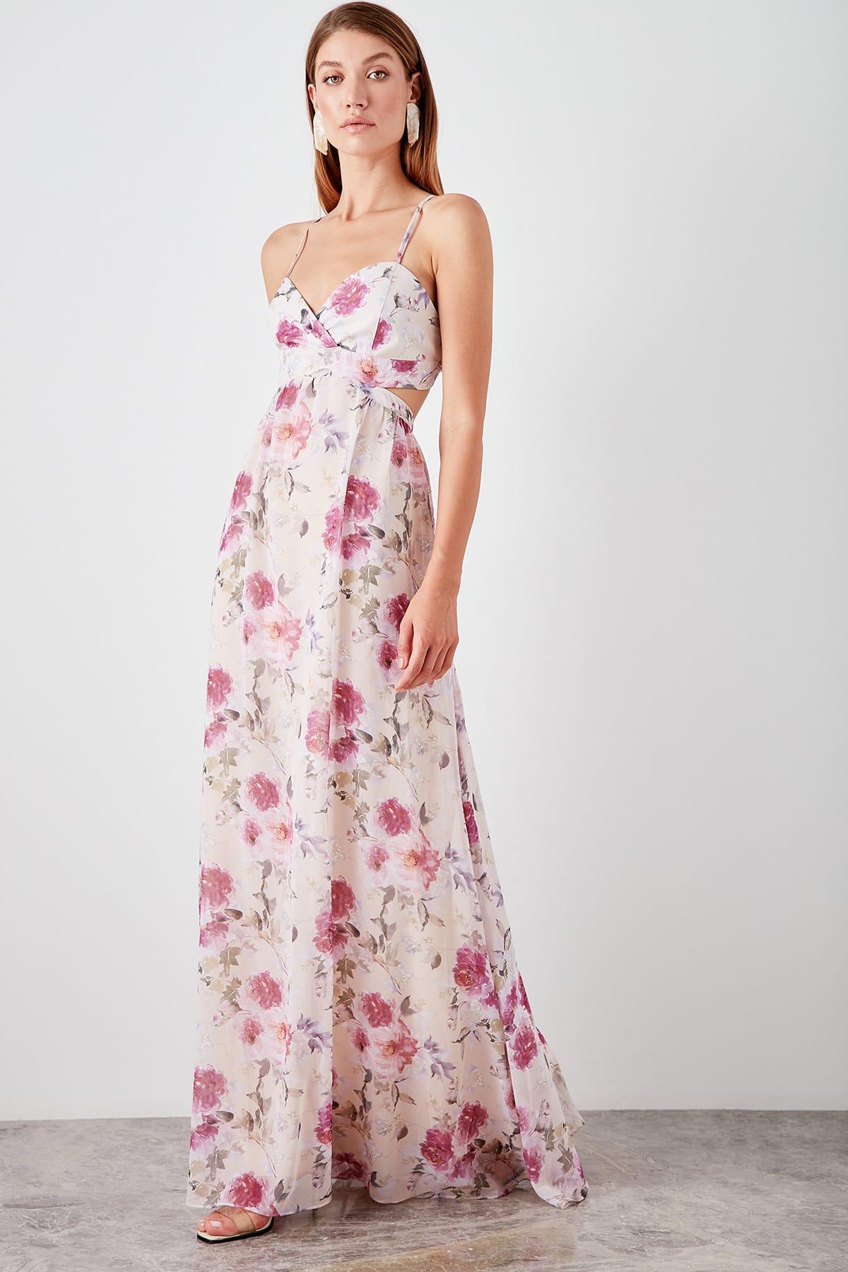 Trendyol Patterned Back Low-Cut Evening Dress TPRSS19WU0037