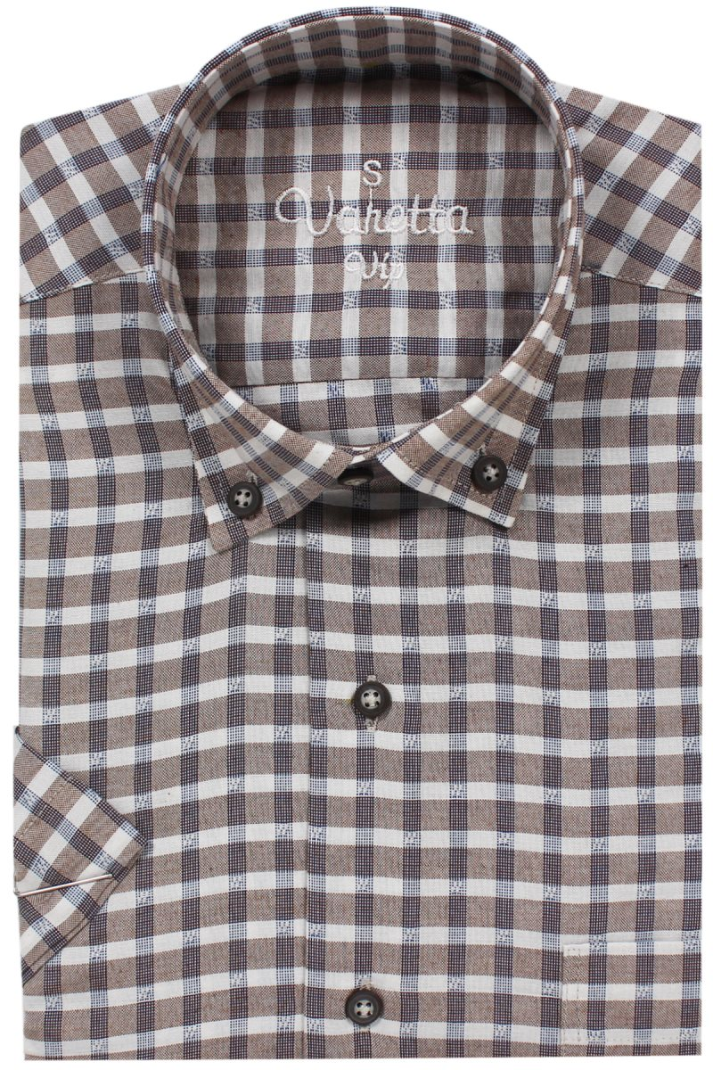 Varetta % 100 Cotton Linen Brown Regular Casual Shirts Plaid Short Sleeve Mens Shirts Turn-down Collar Covered Button L Xl Turkey