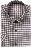 Varetta % 100 Cotton Linen Brown Regular Casual Shirts Plaid Short Sleeve Mens Shirts Turn down collar Covered Button L Xl Turkey