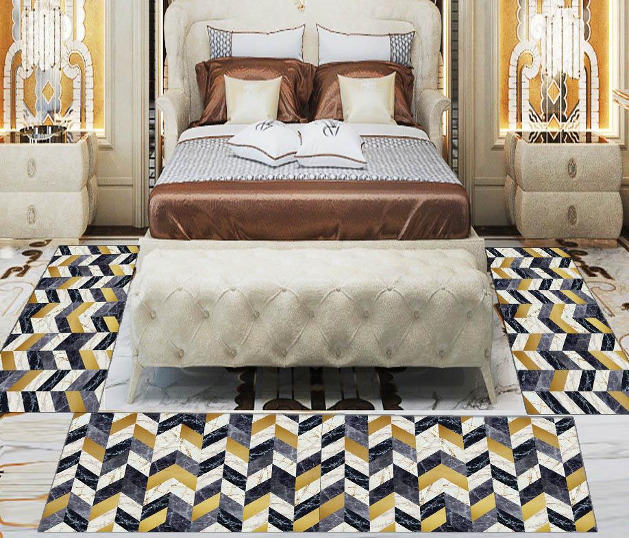 Else 3 Piece Black Yellow Gray Marble Design 3d Print Non Slip Microfiber Washable Decor Bedroom Hallway Area Rug Carpet Set