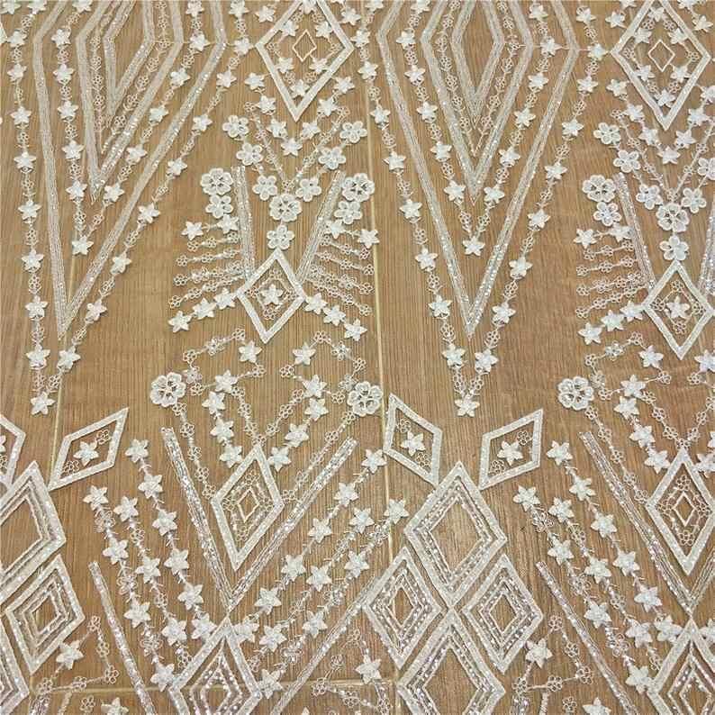 "Lace Fabric Dark Blue Sequined Star Tulle Gauze Fabric Wedding Fabric 51/"" width"