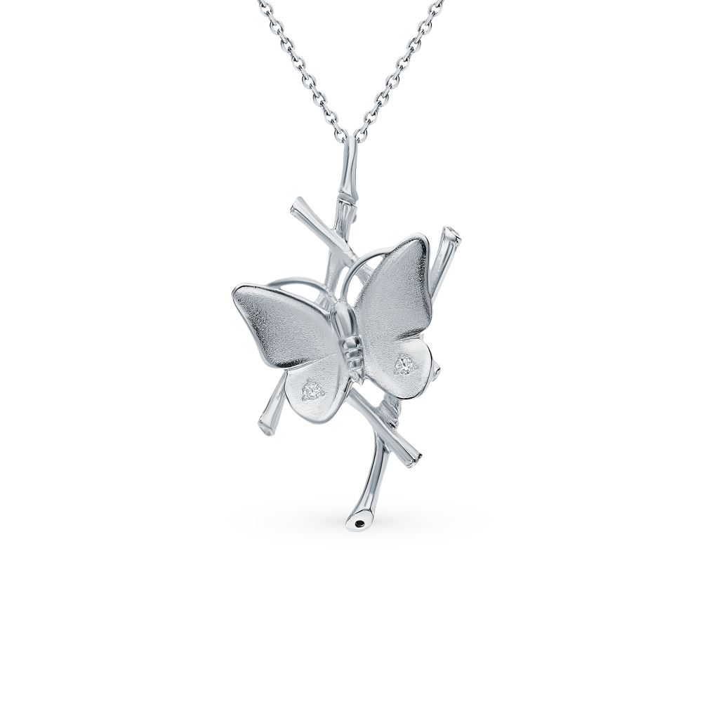 Silver Pendant With Cubic Zirconia SUNLIGHT Test 925