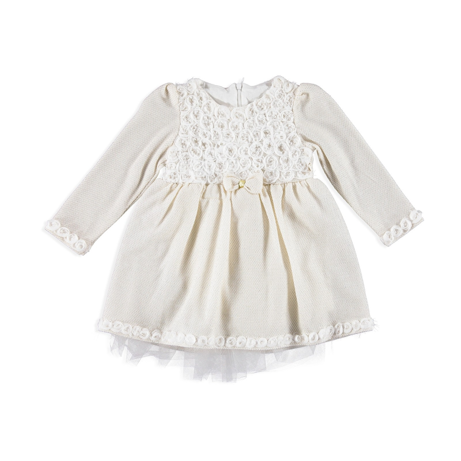 Ebebek Mymio Baby Girl Combed Lined Rose Embroidered Dress