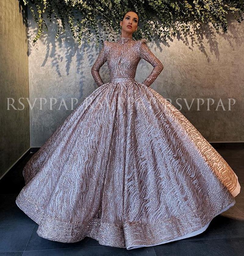 Long Puffy Evening Dresses 2020 High Neck Long Sleeve Glittery Rose Gold Lebanon Dubai Women Formal Gowns