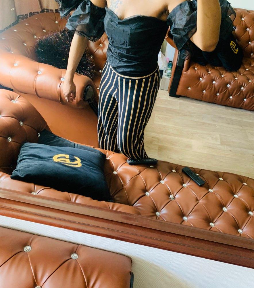 Evenworse Gauze Splicing Bodysuit Woman's Fashion Sexy Off Shoulder Short Sleeve Jumpsuits Slim Solid Jumpsuits Nightclub Club reviews №2 108698