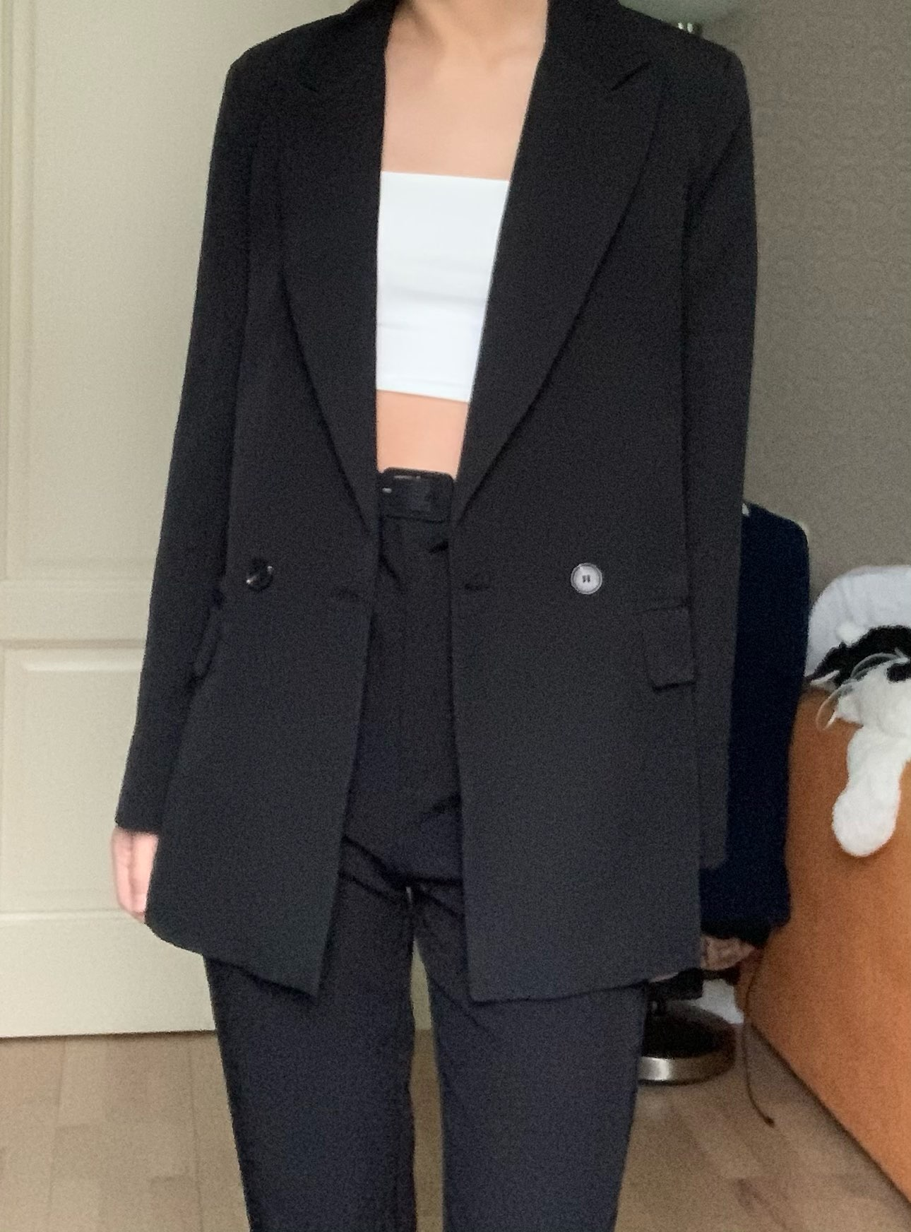 Autumn and winter women's blazer jacket casual solid color double-breasted pocket decorative coat reviews №1 274276