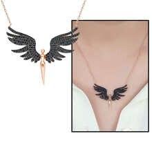 Siyah Zirkon Taşlı Melek Tasarım 925 Ayar Gümüş Bayan Kolye