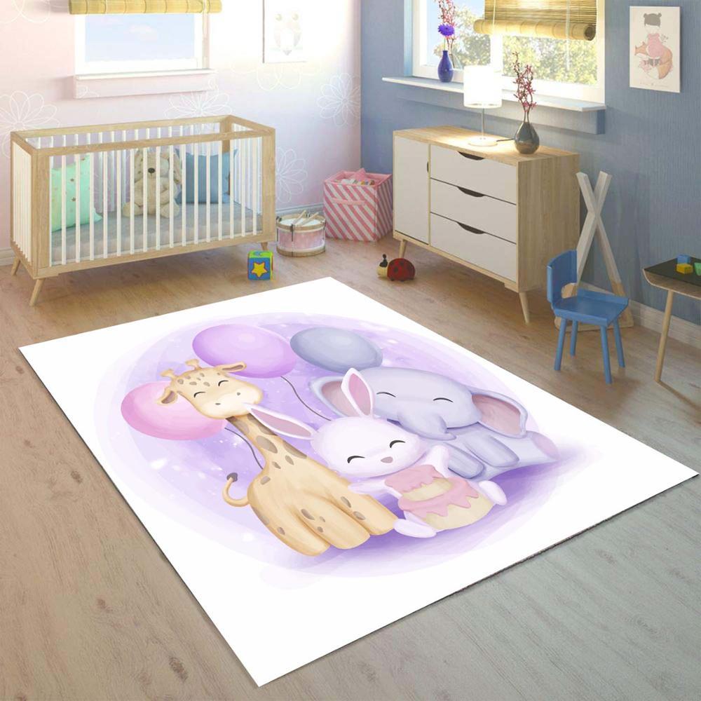 Else Purple Ballons Funny Animals Elephant 3d Print Non Slip Microfiber Children Kids Room Decorative Area Rug Kids  Mat